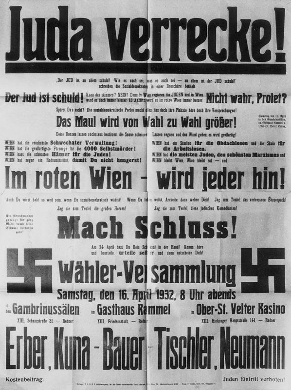 Werbung (politisch) & Werbung (Wahl), Landtagswahl 24.04.1932 & Gemeinderatswahl 24.04.1932, 1932.04.24, Wien Veranstaltung (politisch), Wähler-Versammlung, 1932.04.16, Wien